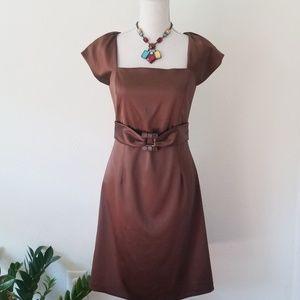 Ellen Tracy Brown Satin Cocktail Midi Dress 4